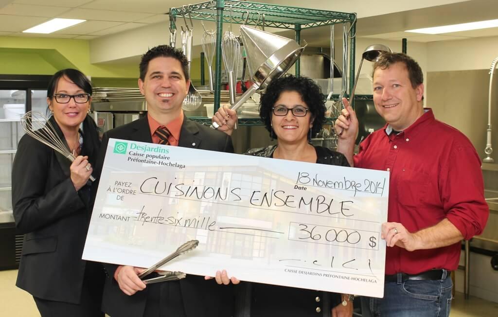 SOMME DE 36 000 $ POUR CUISINONS ENSEMBLE OFFERTE PAR LA CAISSE DESJARDINS PRÉFONTAINE-HOCHEALA